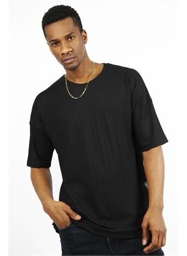 XHAN Mint Bürümcük Kumaş Oversize T-Shirt 1Yxe1-44912-43 Siyah